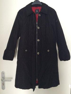 Schwarzer Mantel mit Schnüreffekt