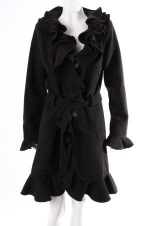 Schwarzer Mantel mit Volants