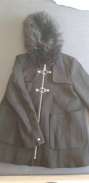 Zara Abrigo de entretiempo negro-color plata