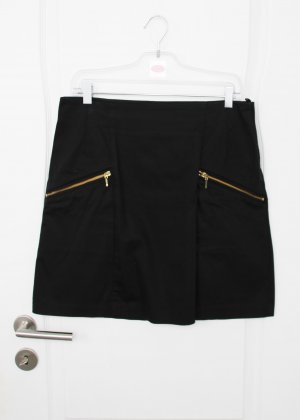 Schwarzer Minirock mit goldenen Reißverschlüssen H&M 44