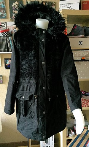 Schwarzer neuer Wintermantel Fell L/ XL