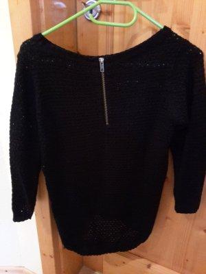 schwarzer ONLY Pullover mit Zierreißverschluss am Rücken