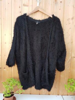 schwarzer Oversize Cardigan Fake Fur Oversize Fell Jacke Mantel