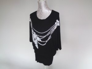 Kimono Sweater black-silver-colored
