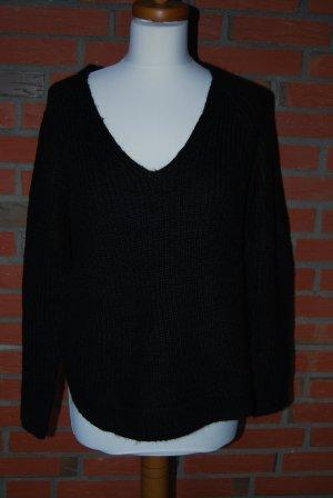 schwarzer Oversize Pullover in Grobstrick von H&M Gr. S