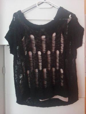 schwarzer Oversized-Pullover
