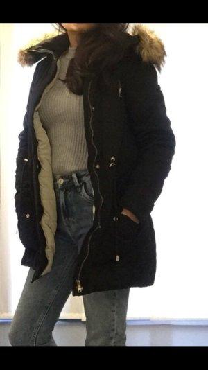 Zara Parka zwart-wolwit