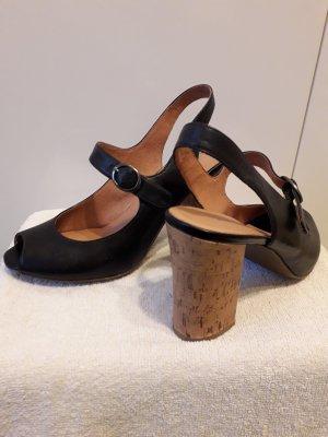5th Avenue Escarpins à bout ouvert noir-marron clair cuir