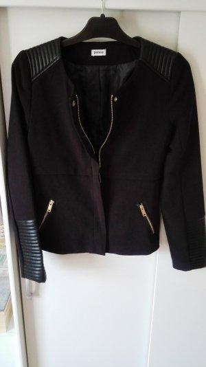 schwarzer Pimkie Blazer mit Ledereinsätzen und goldenen Reißverschlüssen Gr 34