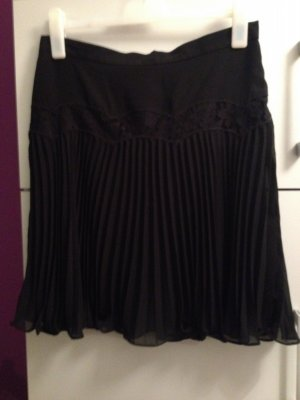French Connection Pleated Skirt black-dark brown polyester