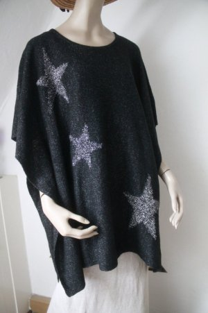 schwarzer Poncho mit silbernen Sternen * Gr. L / XL * nie getragen * NEU *