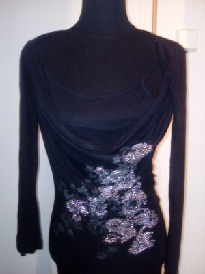 schwarzer Pulli - doppellagig - mit Blumen-Print und Glitzersteinchen - Größe M