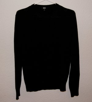 Schwarzer Pullover aus reiner Merinowolle Uniqlo XS 34 36
