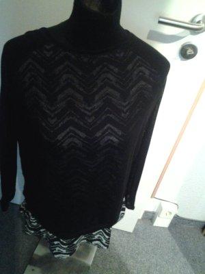 schwarzer Pullover - doppellagig - durchschimmernd mit Muster - Janina - Größe 38