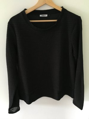 Schwarzer Pullover, hinten transparent