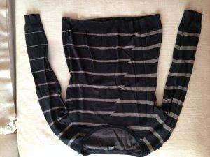 Schwarzer Pullover mit grauen Streifen