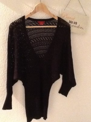 Schwarzer Pullover mit Lochmuster und Fledermausärmel in Gr. S