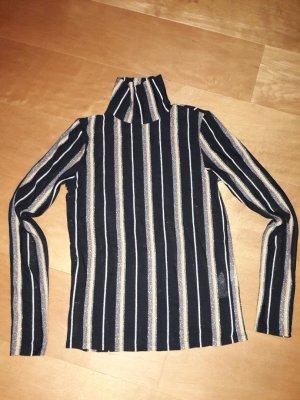 schwarzer Pullover mit Lurex-Streifen