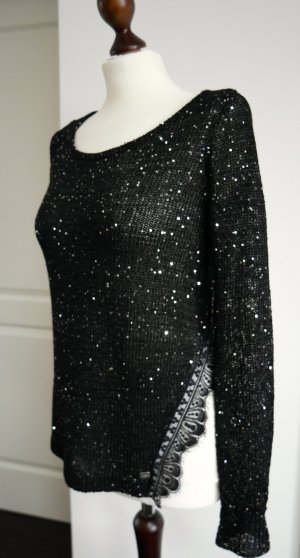 Schwarzer Pullover mit Pailletten, Spitze und Chiffon von Lipsy  *NEU*