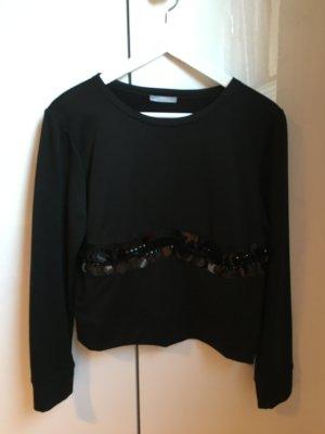Schwarzer Pullover mit Pailletten XS