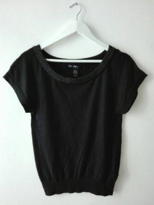 schwarzer Pullover mit Perlenapplikation, H&M