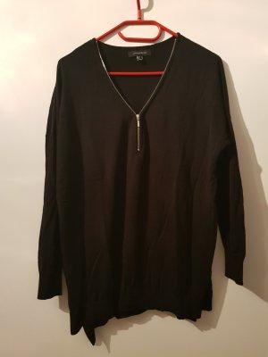 Schwarzer Pullover mit Reißverschluss