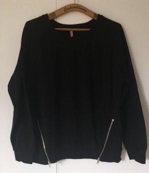 Schwarzer Pullover mit Reißverschlussdetail - Gr. L