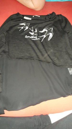 Schwarzer Pullover mit Schwalben Glitzern