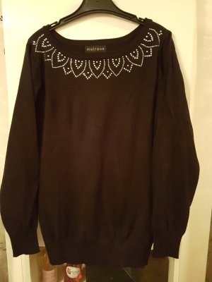 Schwarzer Pullover mit Strasssteinen