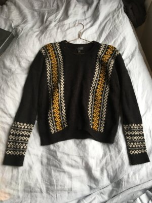 Schwarzer Pullover Strickpullover Wollpullover Muster strick