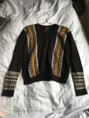 Schwarzer Pullover topshop  Strickpullover Trend Blogger brit Chic Wollpullover  warm orange weiß schwarz Muster strick