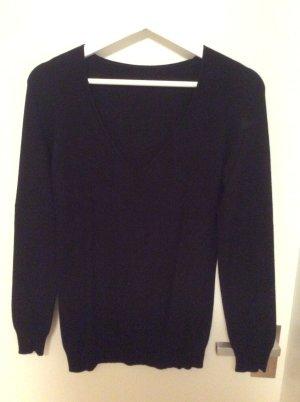 Schwarzer Pullover Viskosegemisch, V-Ausschnitt