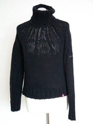 schwarzer Pullover von edc by Esprit mit Logostickerei