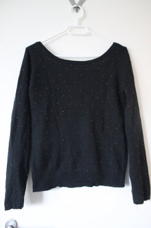 Schwarzer Pullover von Promod mit tiefgeschnittenem Rücken
