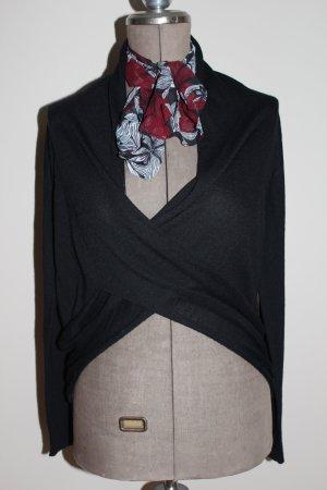 schwarzer Pullover / Wollpullover/ Wickelpulli - super Zustand - hochwertige Materialien
