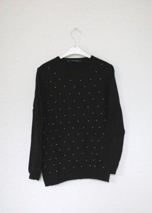Schwarzer Pullover Zara Knit mit Perlen Gr. S mit Mohair