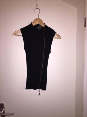 schwarzer Pullunder mit Reisverschluss vorne