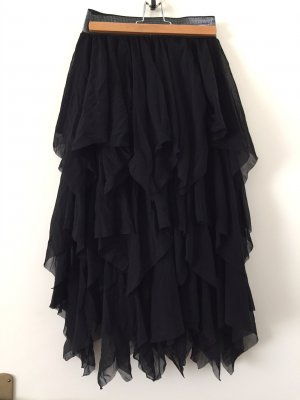 Fringed Skirt black cotton