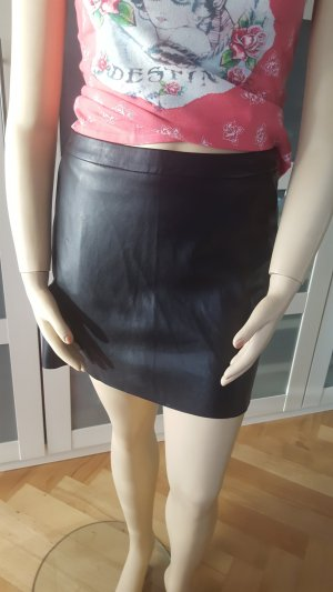 Promod Falda de cuero negro