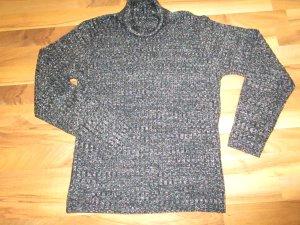 Maglione dolcevita nero-argento