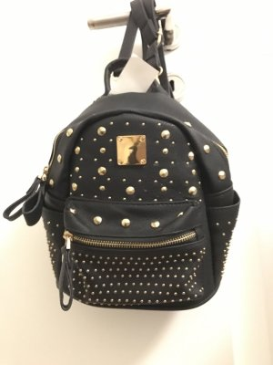 School Backpack black-gold-colored