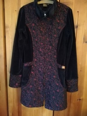 Abrigo corto negro-burdeos Algodón