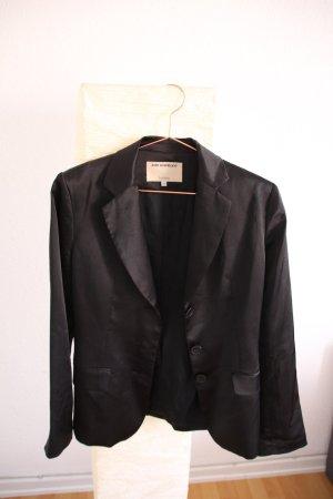 Schwarzer Satin-Business-Blazer mit 3 Knöpfen
