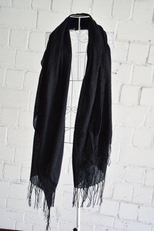 Schwarzer Schal mit Fransen