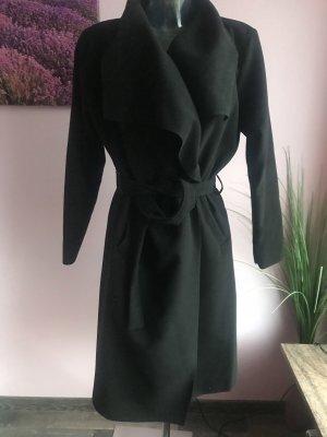 Schwarzer schlichter Mantel mit binde Gürtel ~ Größe S