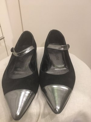 Patrizia Dini Ballerinas with Toecap black-silver-colored leather