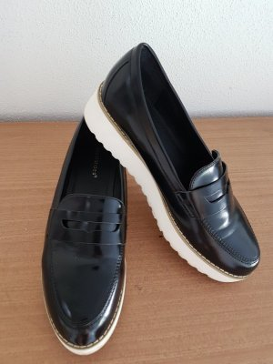 Ideal Slippers black-white imitation leather