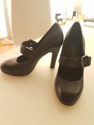 Deichmann Backless Pumps black imitation leather
