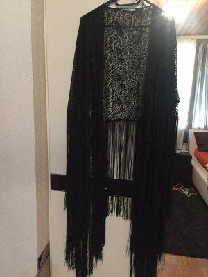schwarzer Spitzen-Kimono