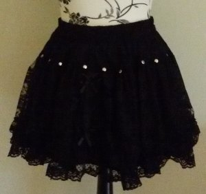 Poizen Industries Lace Skirt black polyester